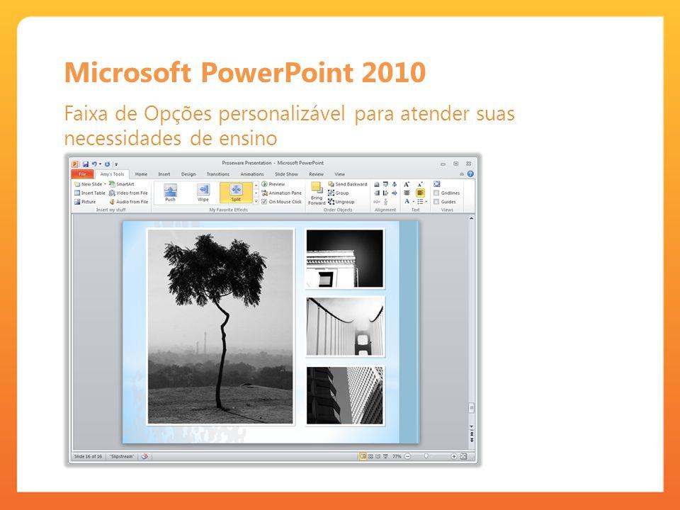 Microsoft PowerPoint 2010 Faixa de Opções personalizável para atender suas necessidades de ensino