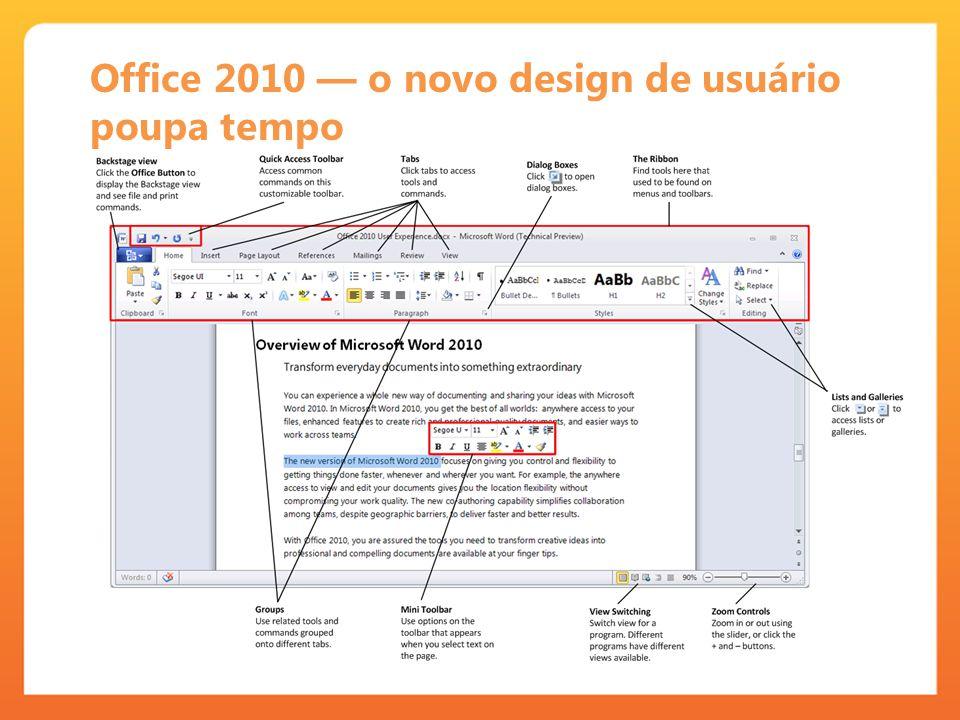 Office 2010 o novo design de usuário poupa tempo
