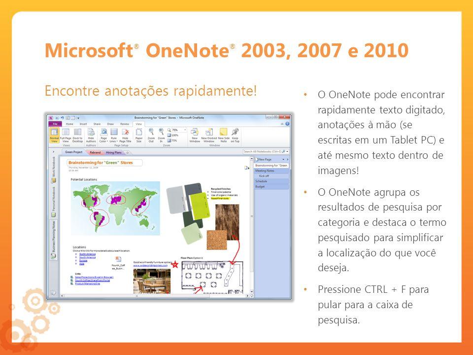 Microsoft OneNote 2003 Mantenha-se organizado com Seções e Pastas Use o OneNote 2003 para colher e organizar materiais para ajudar a criar relatórios, propostas e apresentações.