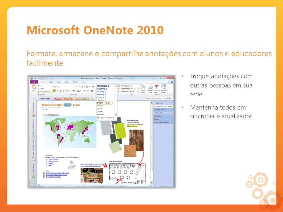 Microsoft OneNote 2010 Formate, armazene e compartilhe anotações com alunos e educadores facilmente Troque anotações com outras pessoas em sua rede.