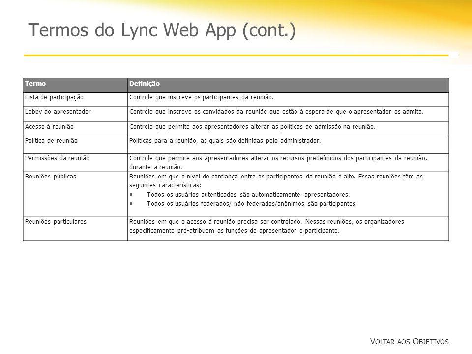 Termos do Lync Web App (cont.) V OLTAR AOS O BJETIVOS V OLTAR AOS O BJETIVOS TermoDefinição Lista de participaçãoControle que inscreve os participantes da reunião.