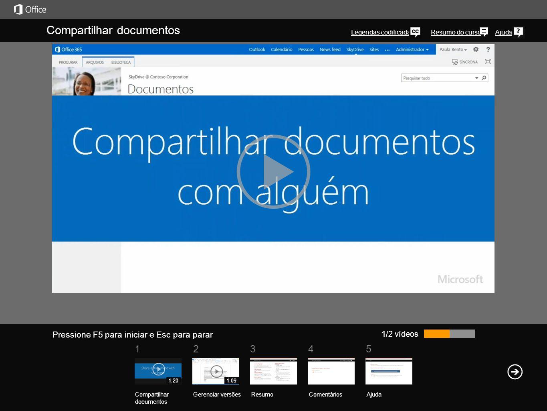 51 234 Resumo do cursoAjuda Você pode compartilhar qualquer tipo de documento na sua biblioteca do SkyDrive Pro com seus colegas de trabalho e lhes conceder permissão de leitura ou edição.