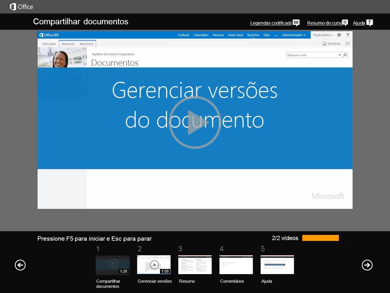 Compartilhar documentos Você pode compartilhar qualquer tipo de documento de sua biblioteca do OneDrive Pro com colegas de trabalho, independentemente do tipo de arquivo.