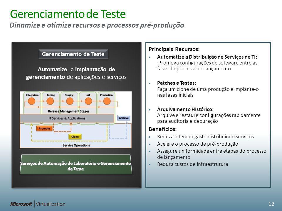 Gerenciamento de Teste Dinamize e otimize recursos e processos pré-produção Gerenciamento de Teste Automatize a implantação de gerenciamento de aplicações e serviços Serviços de Automação de Laboratório e Gerenciamento de Teste 12 Principais Recursos: Automatize a Distribuição de Serviços de TI: Promova configurações de software entre as fases do processo de lançamento Patches e Testes: Faça um clone de uma produção e implante-o nas fases iniciais Arquivamento Histórico: Arquive e restaure configurações rapidamente para auditoria e depuração Benefícios: Reduza o tempo gasto distribuindo serviços Acelere o processo de pré-produção Assegure uniformidade entre etapas do processo de lançamento Reduza custos de infraestrutura