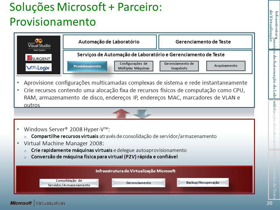 Soluções Microsoft + Parceiro: Provisionamento Infraestrutura de Virtualização Microsoft Consolidação de Servidor/Armazenamento Gerenciamento Backup/Recuperação Aprovisione configurações multicamadas complexas de sistema e rede instantaneamente Crie recursos contendo uma alocação fixa de recursos físicos de computação como CPU, RAM, armazenamento de disco, endereços IP, endereços MAC, marcadores de VLAN e outros Windows Server® 2008 Hyper-V: o Compartilhe recursos virtuais através de consolidação de servidor/armazenamento Virtual Machine Manager 2008: o Crie rapidamente máquinas virtuais e delegue autoaprovisionamento o Conversão de máquina física para virtual (P2V) rápida e confiável 20 Serviços de Automação de Laboratório e Gerenciamento de Teste Automação de Laboratório Provisionamento Configurações de Múltiplas Máquinas Gerenciamento de Snapshots Gerenciamento de Teste Arquivamento Infraestrutura de Virtualização Serviços de Automação de Laboratório Automação de Laboratório Gerenciamento de Teste