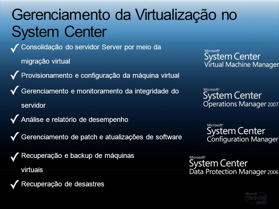 Consolidação do servidor Server por meio da migração virtual Provisionamento e configuração da máquina virtual Gerenciamento e monitoramento da integr