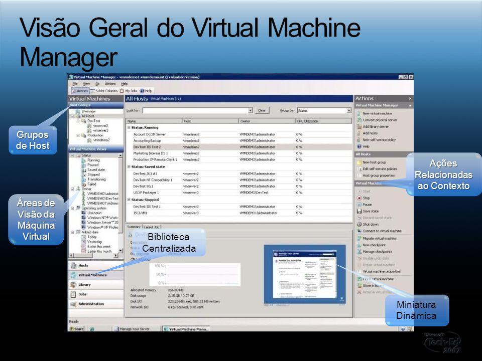 Miniatura Dinâmica Grupos de Host Biblioteca Centralizada Áreas de Visão da Máquina Virtual Ações Relacionadas ao Contexto