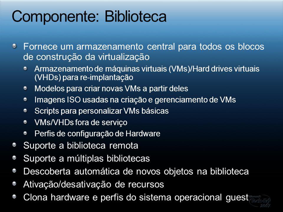 Fornece um armazenamento central para todos os blocos de construção da virtualização Armazenamento de máquinas virtuais (VMs)/Hard drives virtuais (VH
