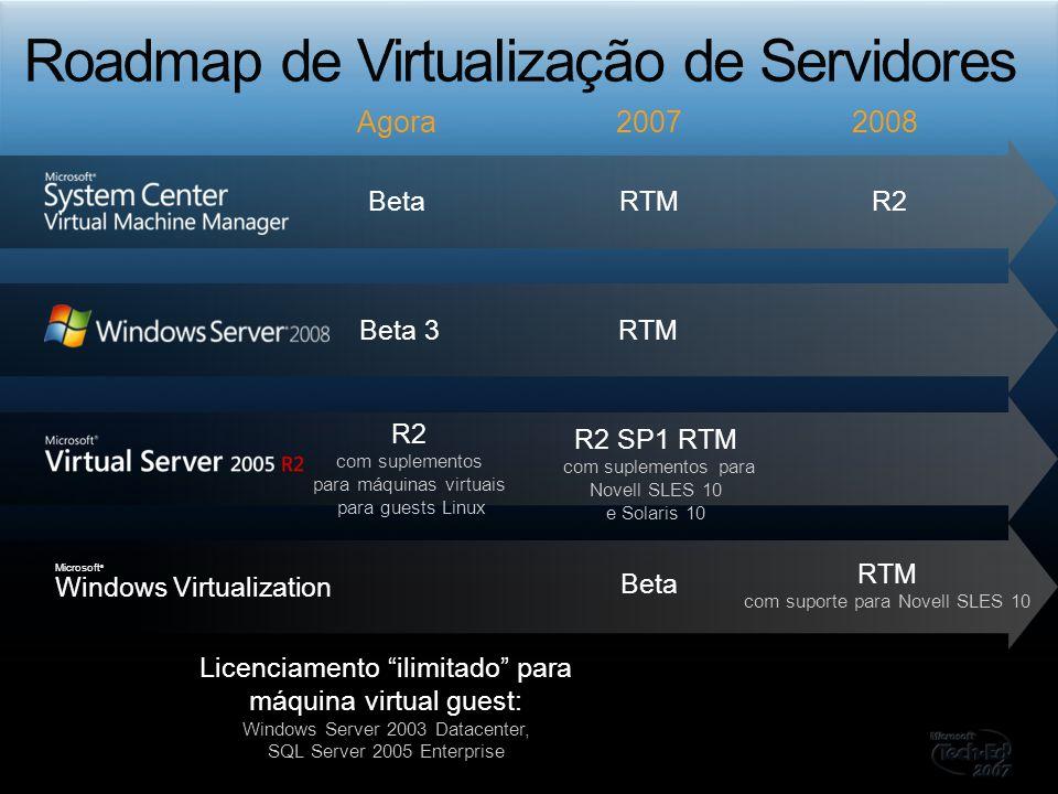 Beta 3RTM BetaRTMR2 Licenciamento ilimitado para máquina virtual guest: Windows Server 2003 Datacenter, SQL Server 2005 Enterprise Beta RTM com suport