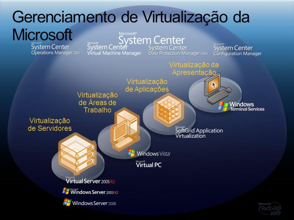 Virtualização de Servidores Virtualização de Áreas de Trabalho Virtualização de Aplicações Virtualização da Apresentação