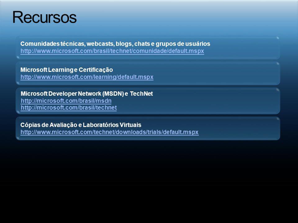 Comunidades técnicas, webcasts, blogs, chats e grupos de usuários http://www.microsoft.com/brasil/technet/comunidade/default.mspx Microsoft Developer