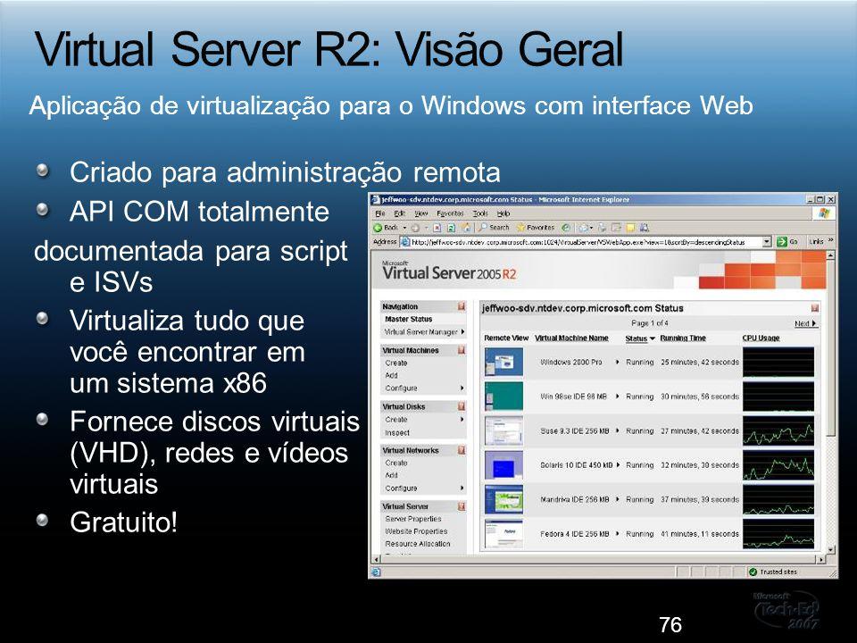 Criado para administração remota API COM totalmente documentada para script e ISVs Virtualiza tudo que você encontrar em um sistema x86 Fornece discos