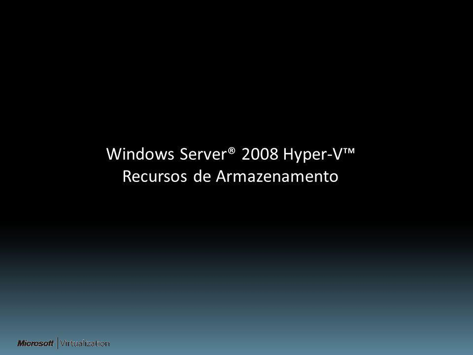 Windows Server® 2008 Hyper-V Recursos de Armazenamento