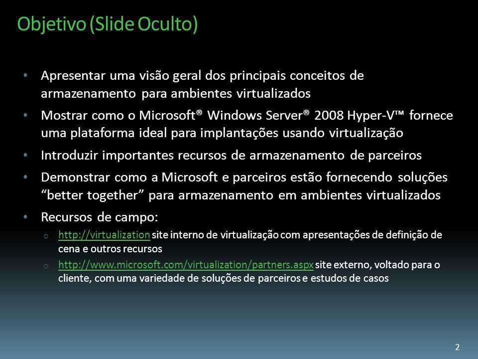 Objetivo (Slide Oculto) Apresentar uma visão geral dos principais conceitos de armazenamento para ambientes virtualizados Mostrar como o Microsoft® Wi