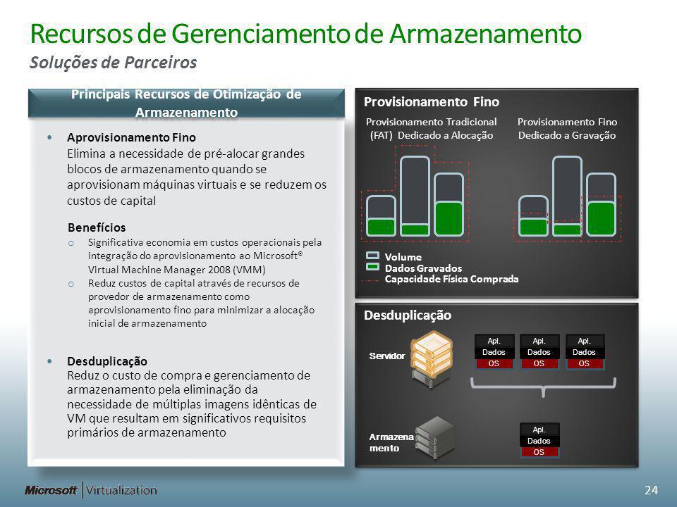 Recursos de Gerenciamento de Armazenamento Soluções de Parceiros Principais Recursos de Otimização de Armazenamento Servidor Armazena mento OS Dados A