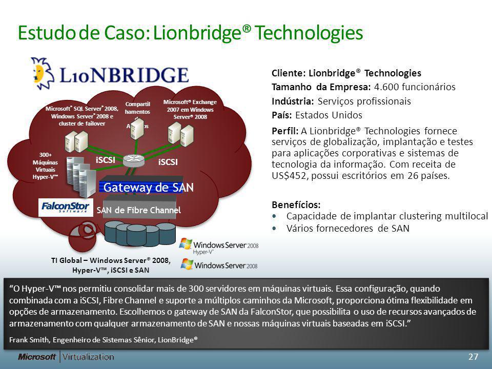 Estudo de Caso: Lionbridge® Technologies TI Global – Windows Server® 2008, Hyper-V, iSCSI e SAN Microsoft ® SQL Server ® 2008, Windows Server ® 2008 e