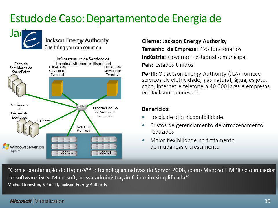 Estudo de Caso: Departamento de Energia de Jackson 30 Com a combinação do Hyper-V e tecnologias nativas do Server 2008, como Microsoft MPIO e o inicia