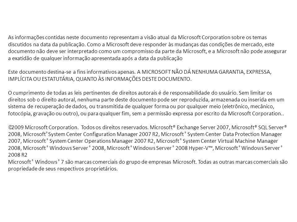 As informações contidas neste documento representam a visão atual da Microsoft Corporation sobre os temas discutidos na data da publicação. Como a Mic