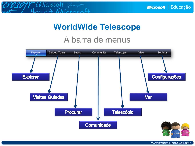 WorldWide Telescope A barra de menus