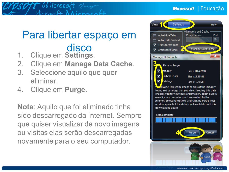 Para libertar espaço em disco 1.Clique em Settings. 2.Clique em Manage Data Cache. 3.Seleccione aquilo que quer eliminar. 4.Clique em Purge. Nota: Aqu