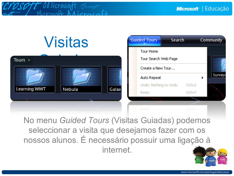 No menu Guided Tours (Visitas Guiadas) podemos seleccionar a visita que desejamos fazer com os nossos alunos. É necessário possuir uma ligação à inter