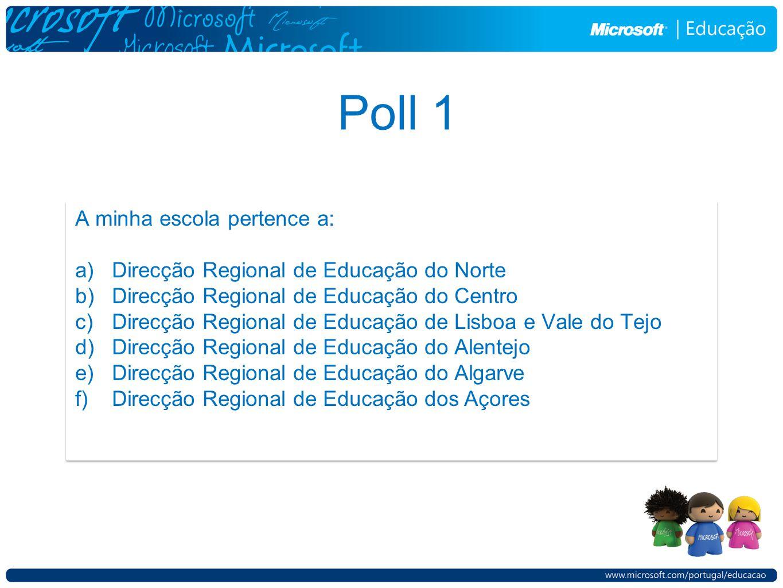 Poll 1 A minha escola pertence a: a) Direcção Regional de Educação do Norte b) Direcção Regional de Educação do Centro c) Direcção Regional de Educaçã