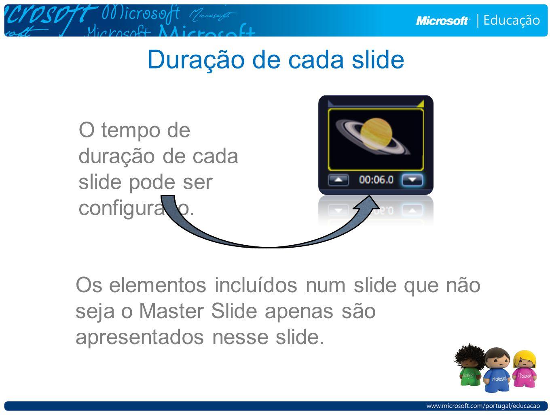 Duração de cada slide O tempo de duração de cada slide pode ser configurado. Os elementos incluídos num slide que não seja o Master Slide apenas são a