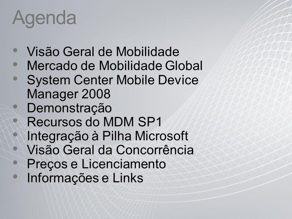 Agenda Visão Geral de Mobilidade Mercado de Mobilidade Global System Center Mobile Device Manager 2008 Demonstração Recursos do MDM SP1 Integração à P