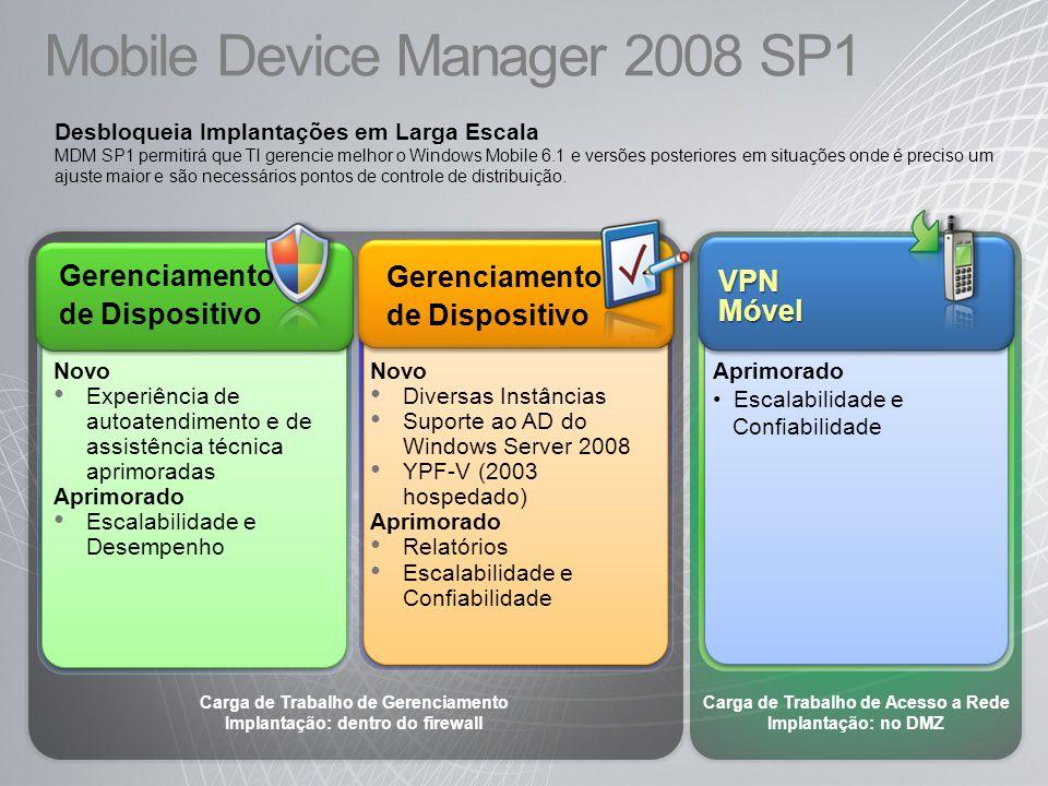 Mobile Device Manager 2008 SP1 Carga de Trabalho de Gerenciamento Implantação: dentro do firewall Carga de Trabalho de Acesso a Rede Implantação: no D