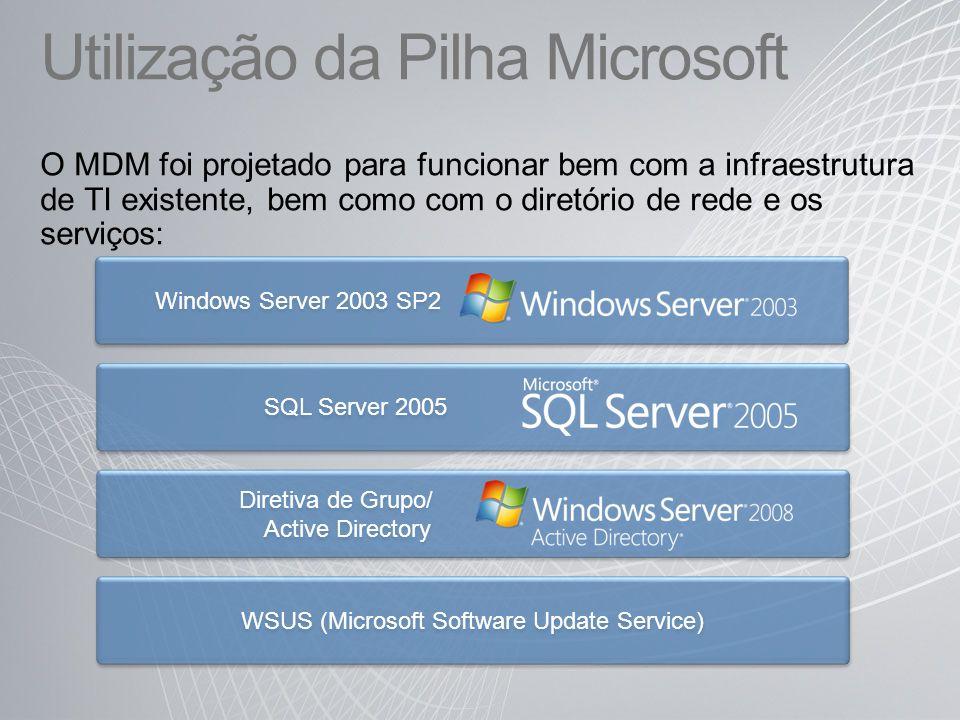 Windows Server 2003 SP2 SQL Server 2005 Diretiva de Grupo/ Active Directory WSUS (Microsoft Software Update Service) Utilização da Pilha Microsoft O MDM foi projetado para funcionar bem com a infraestrutura de TI existente, bem como com o diretório de rede e os serviços: