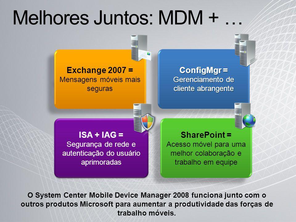Melhores Juntos: MDM + … ConfigMgr = Gerenciamento de cliente abrangente Exchange 2007 = Mensagens móveis mais seguras ISA + IAG = Segurança de rede e