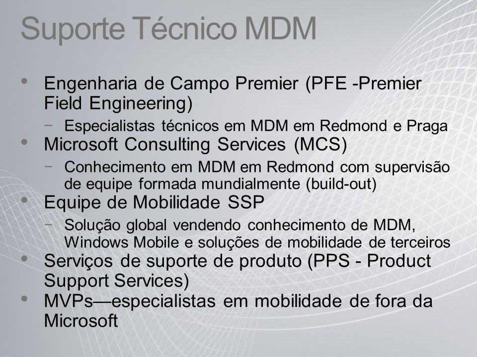 Suporte Técnico MDM Engenharia de Campo Premier (PFE -Premier Field Engineering) Especialistas técnicos em MDM em Redmond e Praga Microsoft Consulting