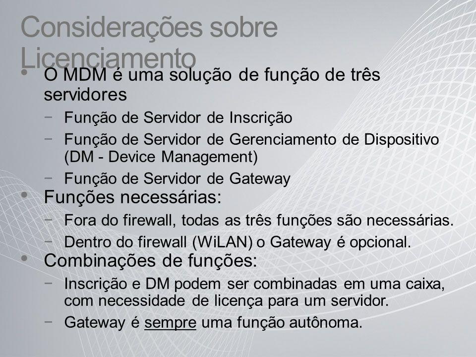 Considerações sobre Licenciamento O MDM é uma solução de função de três servidores Função de Servidor de Inscrição Função de Servidor de Gerenciamento de Dispositivo (DM - Device Management) Função de Servidor de Gateway Funções necessárias: Fora do firewall, todas as três funções são necessárias.