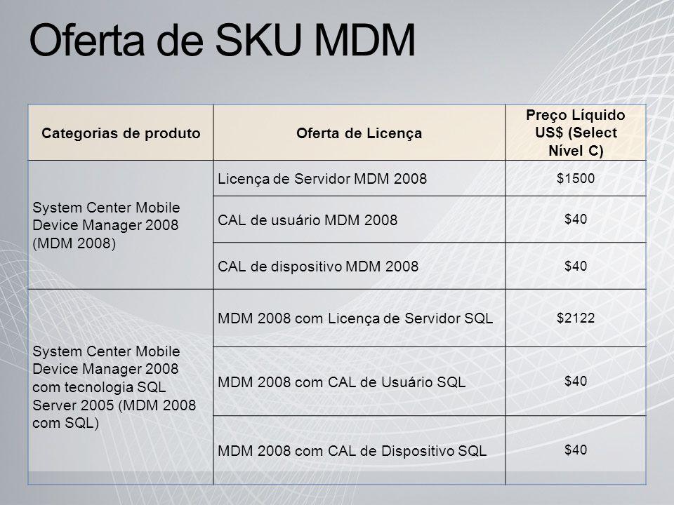 Oferta de SKU MDM Categorias de produtoOferta de Licença Preço Líquido US$ (Select Nível C) System Center Mobile Device Manager 2008 (MDM 2008) Licença de Servidor MDM 2008 $1500 CAL de usuário MDM 2008 $40 CAL de dispositivo MDM 2008 $40 System Center Mobile Device Manager 2008 com tecnologia SQL Server 2005 (MDM 2008 com SQL) MDM 2008 com Licença de Servidor SQL $2122 MDM 2008 com CAL de Usuário SQL $40 MDM 2008 com CAL de Dispositivo SQL $40