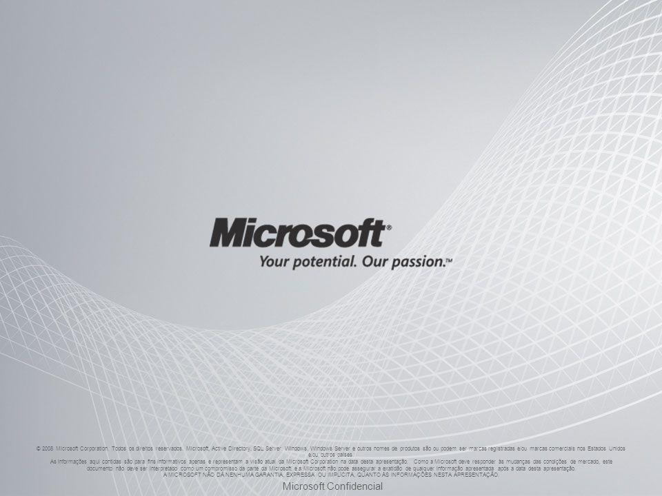 © 2008 Microsoft Corporation. Todos os direitos reservados. Microsoft, Active Directory, SQL Server, Windows, Windows Server e outros nomes de produto