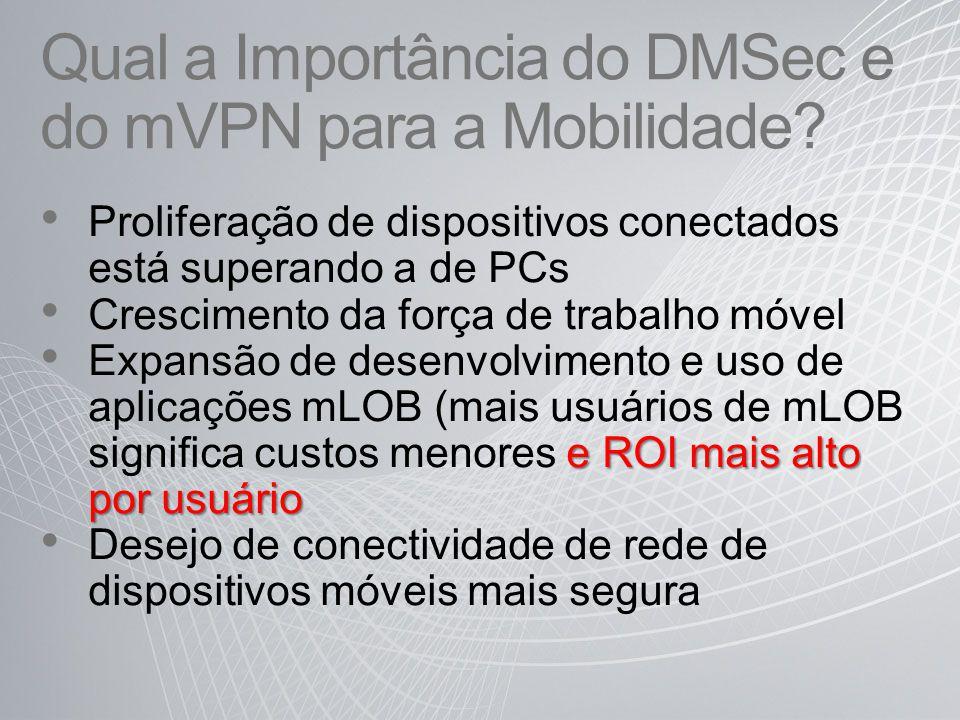 Qual a Importância do DMSec e do mVPN para a Mobilidade? Proliferação de dispositivos conectados está superando a de PCs Crescimento da força de traba