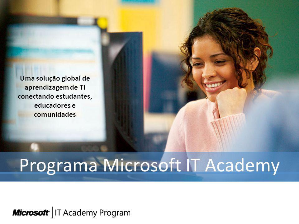 Programa Microsoft IT Academy Uma solução global de aprendizagem de TI conectando estudantes, educadores e comunidades