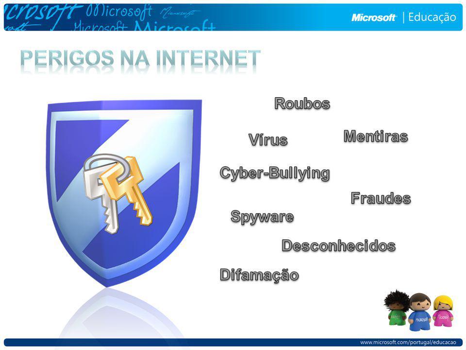Aborde com os seus filhos os diferentes riscos da internet, principalmente: Criminosos Online Conteúdo impróprio Invasão de privacidade