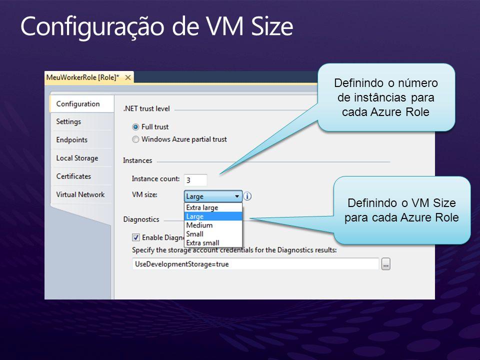 Definindo o número de instâncias para cada Azure Role Definindo o VM Size para cada Azure Role