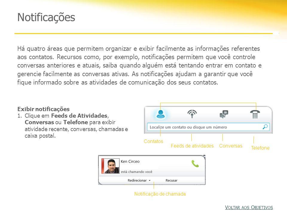 Notificações Há quatro áreas que permitem organizar e exibir facilmente as informações referentes aos contatos.