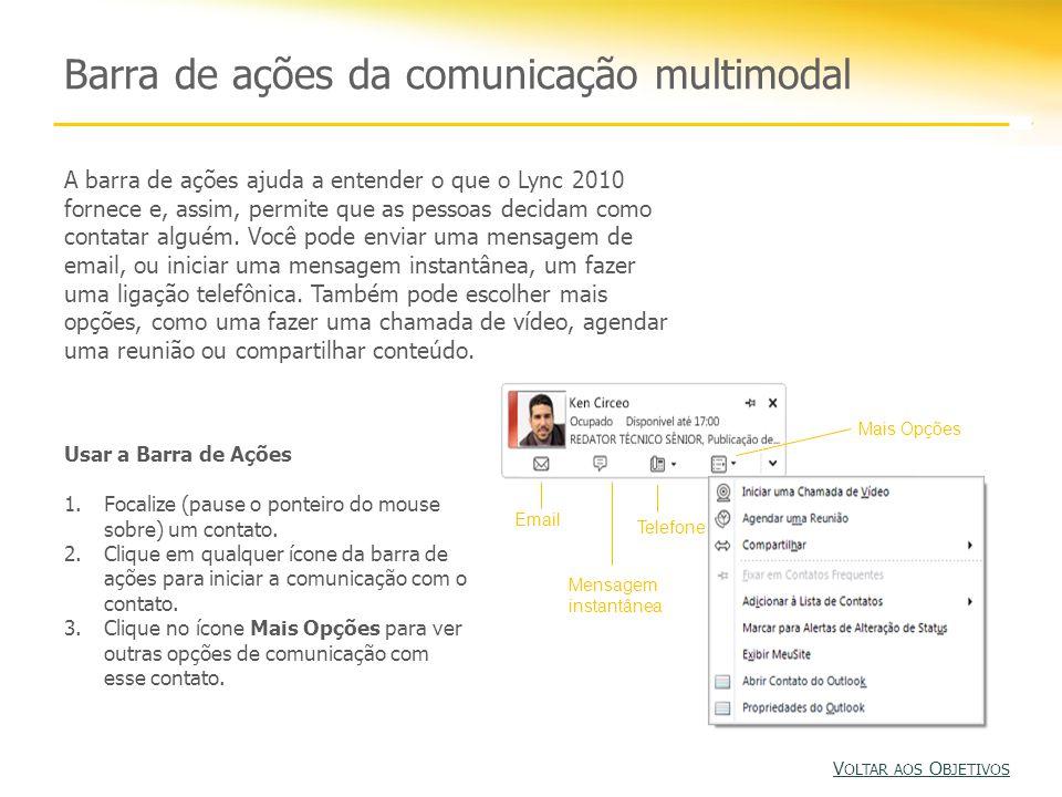 Barra de ações da comunicação multimodal A barra de ações ajuda a entender o que o Lync 2010 fornece e, assim, permite que as pessoas decidam como contatar alguém.