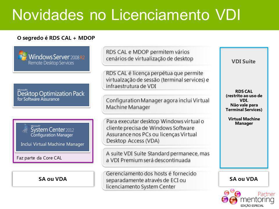 Novidades no Licenciamento VDI O segredo é RDS CAL + MDOP RDS CAL e MDOP permitem vários cenários de virtualização de desktop Configuration Manager ag