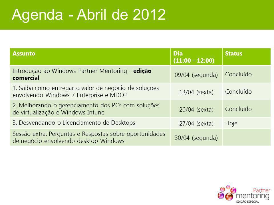 Agenda - Abril de 2012 AssuntoDia (11:00 - 12:00) Status Introdução ao Windows Partner Mentoring - edição comercial 09/04 (segunda) Concluído 1. Saiba