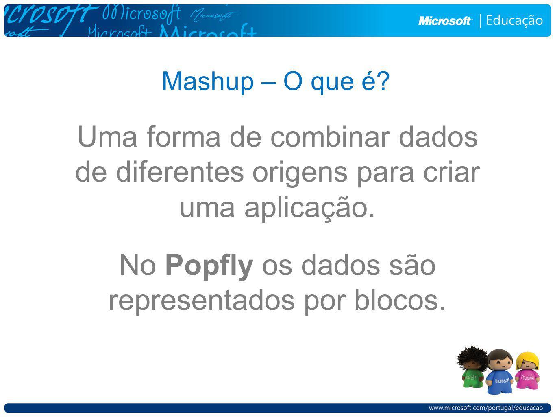Mashup – O que é? Uma forma de combinar dados de diferentes origens para criar uma aplicação. No Popfly os dados são representados por blocos.