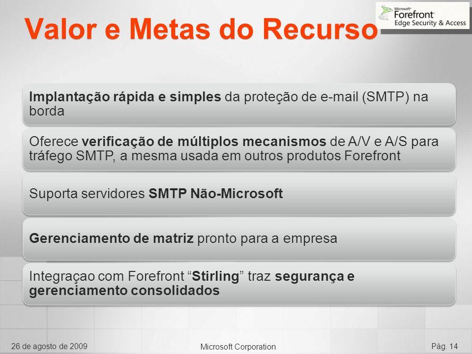 Microsoft Corporation 26 de agosto de 2009Pág. 14 Valor e Metas do Recurso Implantação rápida e simples da proteção de e-mail (SMTP) na borda Oferece