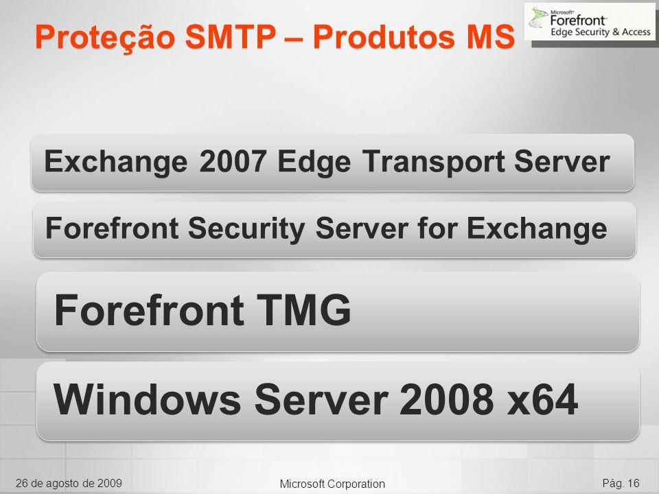 Microsoft Corporation 26 de agosto de 2009Pág. 16 Proteção SMTP – Produtos MS Exchange 2007 Edge Transport Server Forefront Security Server for Exchan