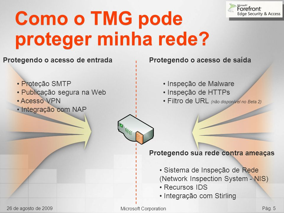 Microsoft Corporation 26 de agosto de 2009Pág. 5 Como o TMG pode proteger minha rede? Inspeção de Malware Inspeção de HTTPs Filtro de URL (não disponí
