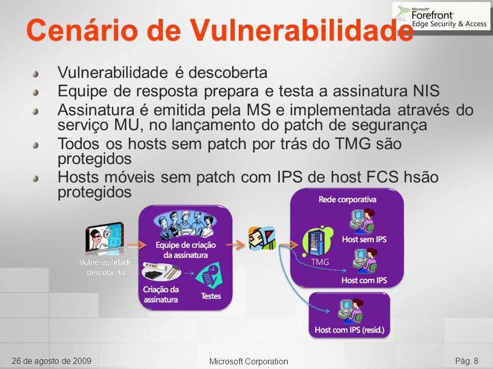 Microsoft Corporation 26 de agosto de 2009Pág. 8 Cenário de Vulnerabilidade Vulnerabilidade é descoberta Equipe de resposta prepara e testa a assinatu