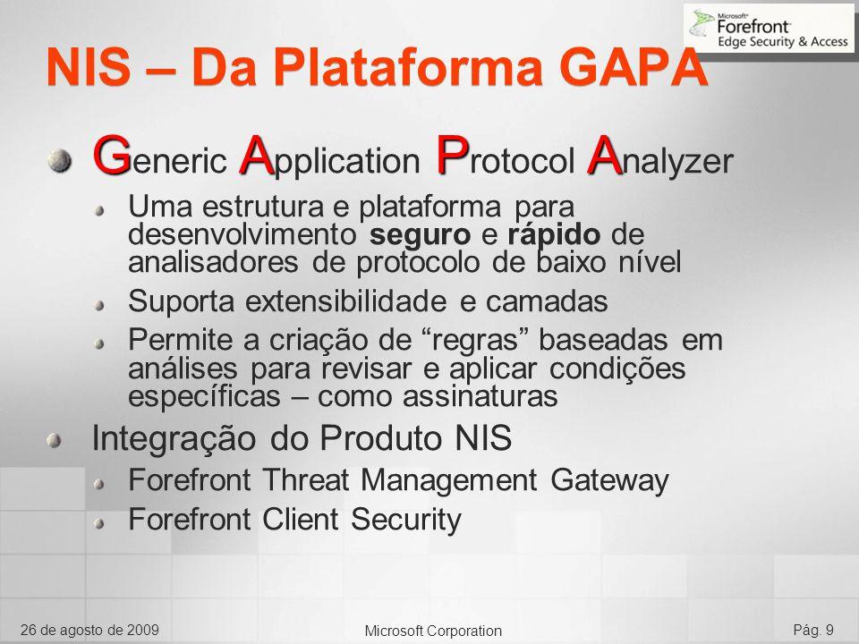 Microsoft Corporation 26 de agosto de 2009Pág. 9 NIS – Da Plataforma GAPA GAPA G eneric A pplication P rotocol A nalyzer Uma estrutura e plataforma pa