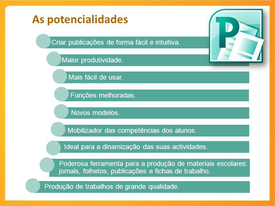 Produção de trabalhos de grande qualidade. Poderosa ferramenta para a produção de materiais escolares: jornais, folhetos, publicações e fichas de trab